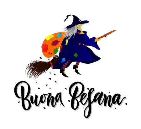 Hand written brush lettering phrase Buona Befana meaning Happy Epiphany with witch with bag of gifts and coal. Template of greeting card, invitation, banner, print, poster Vettoriali
