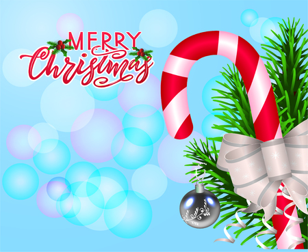 Merry Chirstmas, composition with candy, bow, fir tree branches, and modern calligraphy lettering on blue background with bokeh. Chirstmas simple typography greeting poster for holiday season. As template for postcard, print, banner.