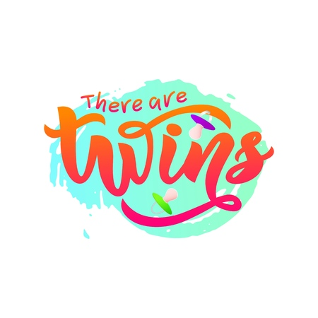 lInscription of phrase There are twins with nipples soother on watercolor spot. Lettering bags, invitations, cards, pillows.Isolated. Overlay banner, poster, print 写真素材