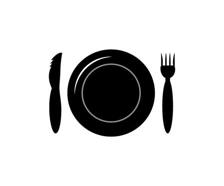 Icono de cubiertos. Placa silueta vector tenedor y cuchillo. Aislado. de color negro. Servicio premium de camarero para eventos al aire libre y restaurante. sobre fondo blanco. Como plantilla de tarjeta, banner, menú, flyer