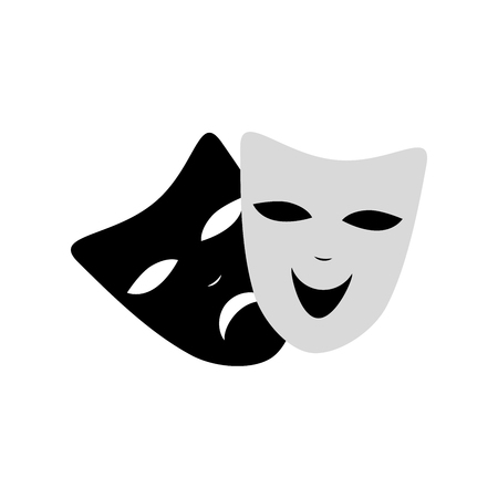 Venetian Carnival masks fun and sad isolated icon. Black and white color. Isolated. Vector illustration. Decorative element for print, flyer