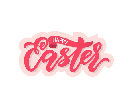 Modern calligraphy lettering Happy Easter on pink background.Vector illustration.Template as greeting card, promotion, poster, flyer, web-banner, print