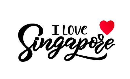 Hand lettering modern calligraphy I love Singapore text, red heart. Typography Vector illustration. Print for clothing, badge, icon, card, sticker poster invitation banner template Illusztráció