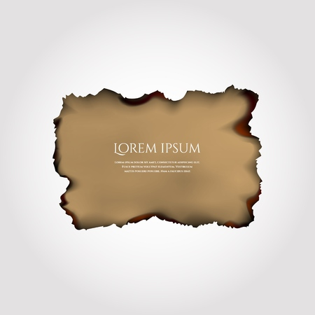 Illustration of parchment, old paper with burnt red edges isolated. Vector EPS10.