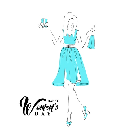 Happy womens day with sketch of a beautiful girl with gift on white background. Vector illustration. Calligraphic hand written phrase. For greeting card, banner, gift packaging, sale or party templates