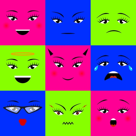 Colorful square emojis icons set different girl faces. Vector illustration. For web, print. Emoticons pattern. Cute emoji. flat cartoon style. Face funny background