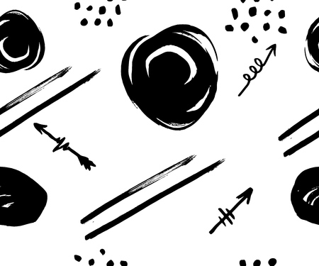 vector seamless pattern with different arrows, line, circles, black on white. Hand brush drawn. Vector Texture of print for clothe bags, towels, fabric, textile, website, background, wrapping paper wallpaper