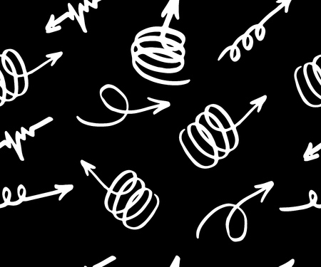 vector seamless pattern with different arrows, white on black. Hand drawn. Vector Texture of print for clothe bags, towels, fabric, textile, website, background, wrapping paper, wallpaper
