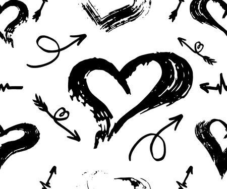 vector seamless pattern with different arrows and hearts, black on white. Hand brush drawn. Vector.Texture of print for clothes, towels, fabric, textile, website, background, wrapping paper, wallpaper