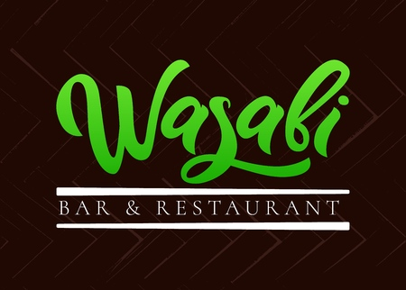 Wasabi bar and restaurant hand   calligraphy lettering on colorful background, emblem of Japanese food. Vector. Template of  package product, flyer