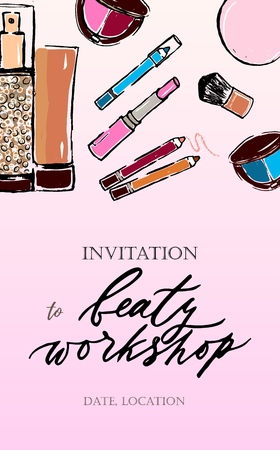 Template of invitation to beauty workshop on pink background Lipstick, eyeshadow, pencils for eyes,  brush. As flyer, banner, poster, fashion background. Sketch style.Vector