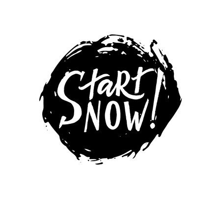Start now hand brush lettering. Modern calligraphy. Isolated on on watercolor spot. Vector. Sticker, tag, label, print, poster, banner Motivation quote 向量圖像