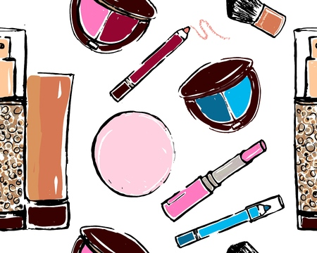 Seamless pattern of different make-up tools. Vector illustration . Lipstick, eyeshadow, pencils for eyes, rouge, brush. As flyer, banner, poster, fashion background. Sketch Glamour fashion vogue style