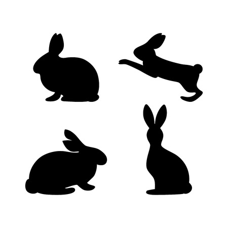 Rabbit Silhouette sits, jumps. Isolated vector illustration. Template of icon, decorative element for greeting card. Symbol of Easter.