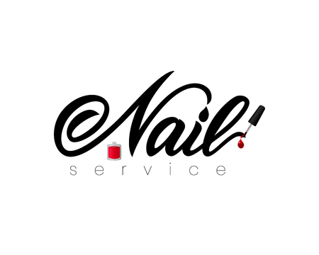 Hand lettering Nail service with nail polish. Isolated. Vector illustration. As logotype of studio, art school, inscription of package product, flyer, banner, brochure, business card