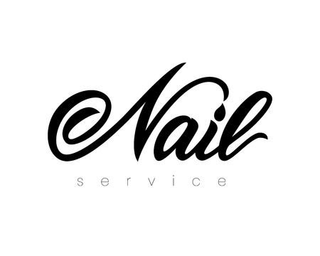 Hand lettering Nail service. Isolated. Vector illustration. studio, art school, inscription of package product, flyer, banner, brochure, business card