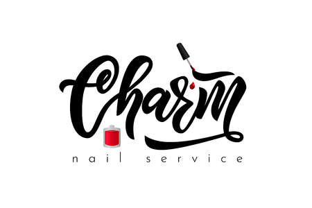 Hand lettering Charm nail service. Vector nail studio, manicure service, art school, boutique of clothes, inscription of package product, flyer, banner, brochure, business card