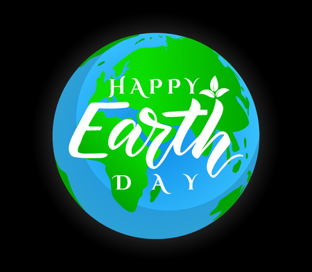 Vector poster Happy Earth Day. Ecology concept. World environment holiday on black background. Illustration for Green day. Hand lettering with cartoon map. As greeting card, banner, print, postcard
