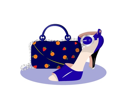 Illustration of bag with chain and pattern of strawberry, orange and blue shoe.vector. Flat style. Fashion accessories.