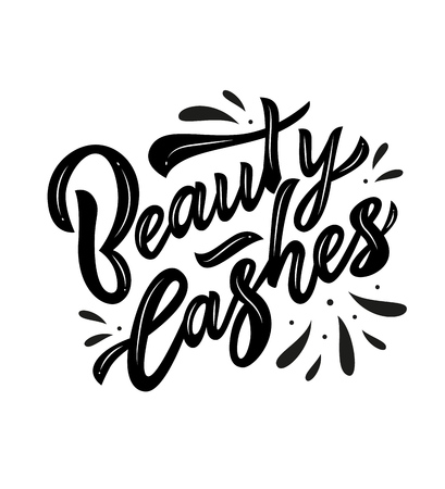 Beauty lashes hand calligraphy lettering. Vector illustration. Black. art studio extension, school. Inscription of package product, flyer, banner, brochure, business card,blog
