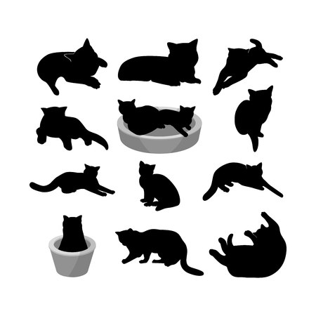 Set of black silhouette of cats on white background. Various forms, pose. Lies, sits, plays,walks, in a basket. Elements for design, pet shop, food for animals. Vector illustration