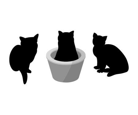 Conjunto de tres silueta negra de gatos sobre fondo blanco. Varias formas, pose. se sienta en una canasta. Elementos de diseño, tienda de animales, comida para animales. Ilustración vectorial Ilustración de vector