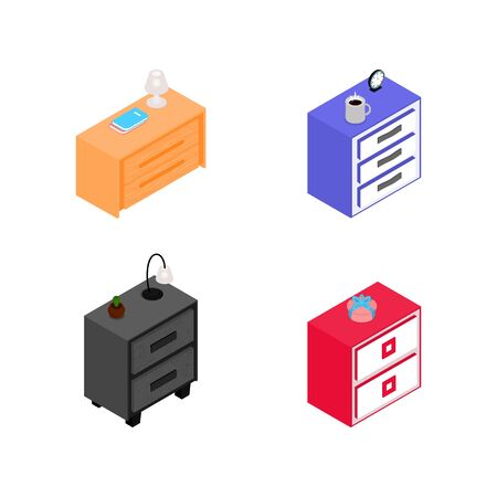Set of various isometric nightstands with night light, books, gift, cactus, clock. Different color. Element for design, interior icon. Isolated vector illustration. Flat