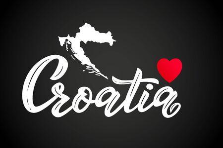 Hand, die modernes Kalligraphiewort Kroatien mit rotem Herzen und Silhouette der Karte beschriftet. Typografie-Vektor-Illustration. Druck, Logo, Abzeichen, Symbol, Karte, Aufkleber-Poster-Einladungsbanner-Vorlage Logo