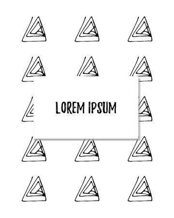 Template of vertical cover, background on white. Abstract backdrop with inscription. For photo album, notebook, book, flyer, print. Ink hand draw triangle pattern Vector llustration.