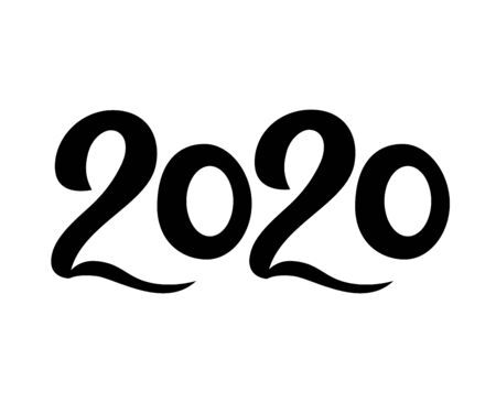 2020 New Year. Black numbers. Hand lettering. Vector illustration. As template for design, calendar, postcard, greeting card poster print 일러스트