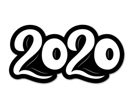 2020 New Year. White volume numbers. Hand lettering. Vector illustration. As template for design, calendar, postcard, greeting card poster print 일러스트