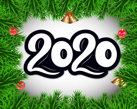 2020 New Year banner with branch spruce, balls, bells. volume numbers. Hand lettering. Vector illustration. As template for design, calendar, postcard, greeting card web poster print 일러스트