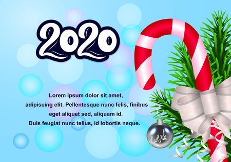 New Year banner 2020 blue blur background. Volume numbers. Caramel, ball, bow, spruce branch. Vector illustration. As template for design, calendar, postcard, greeting card poster print