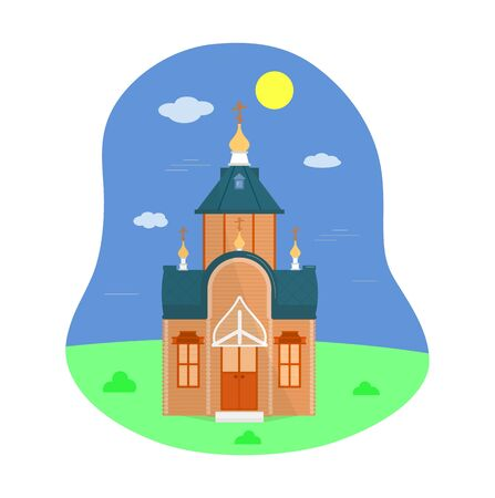 Illustration of Russian Orthodox wooden Church. Flat style. Vector. Isolated. Template of graphic design, for card, flyer, brochure, web banner. Religion symbol Illusztráció