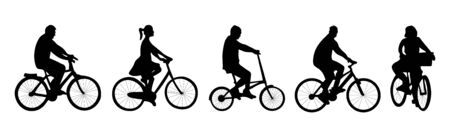 Silhouette of people with bicycle. Women and men. Vector illustration. Tempalte of graphic design, advertising of sport shop, card, banner. Isolated. Black color.