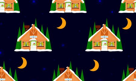 Christmas wooden house, chalet, cottage on night seamless pattern