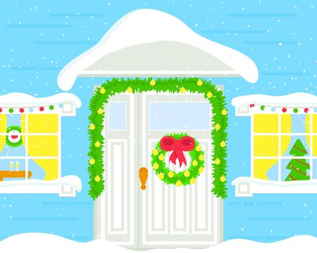 Front door in snow decoration with Christmas wreath, toys. Part of blue house. New year concept. Vector. Template of greeting card, background for web, graphic design. Flat. Illustration