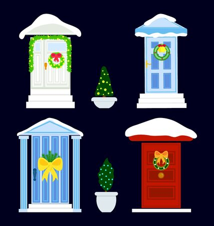 Set of four doors with snow decoration Christmas wreath, toys, bow. New year concept. Vector. Template of greeting card, background for web, graphic design. Flat.