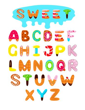 Alphabet design Sweet colorful. Different forms donut, candy, cookies, biscuit, cake, wafer, marshmallows. For graphic design, decoration, package kids product Vector illustration Isolated letters
