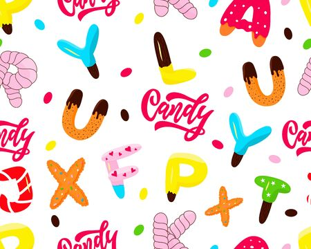 Seamless pattern of colorful isolated letters, word Candy. Background for kids products, package,for graphic design, decoration, paper. Different forms donut, biscuit, cake, marshmallows Vector