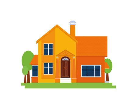 Wooden isolated house, chalet, cottage, family hotel with garden vector illustration on white background. Element for graphic design, advertising of real estate agency. Flat style