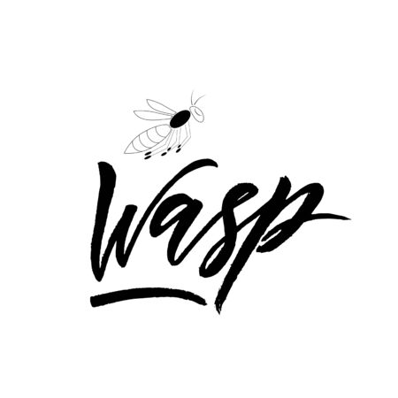 Wasp with insect. Black color. Hand calligraphy lettering. Phrase for clothes store, baby shoes shop. Inscription for package, business card. Vector phrase. Print, graphic design, web banner Illustration
