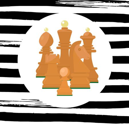 Wooden chess icon. King, queen, pawn, rook, horse, bishop. Six pieces Flat style Vector Illustration Striped texture background with whitevcircle. Composition for advertising of competition, tourney.