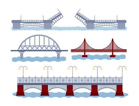 Icon set og bridge avec rivière. Différents types de construction. Ouverture, chemin de fer, autoroute. Illustration vectorielle. Concept de connexion industrielle.
