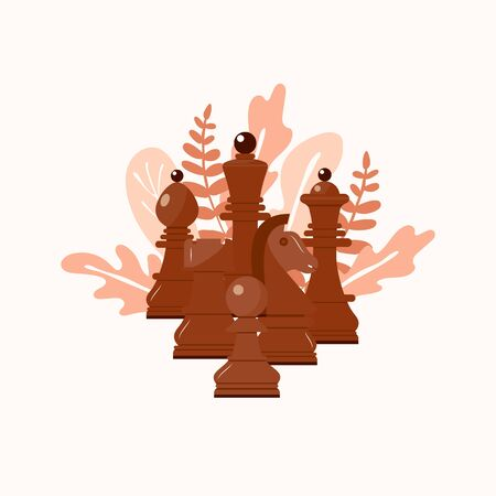 Wooden chess figures on leaves. Pink brown color. King, queen, pawn, rook, horse, bishop. Six pieces Flat style Vector Illustration. For advertising of competition, tourney,image for teaching book