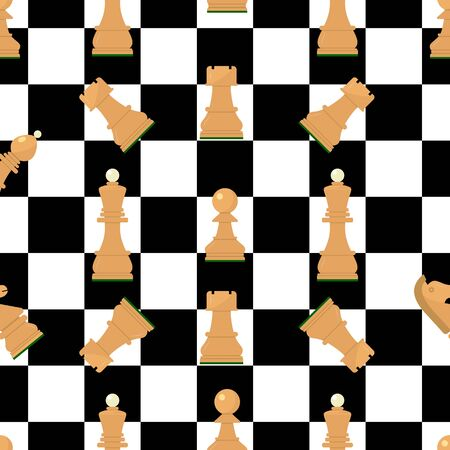 Seamless pattern with chess wooden figures.Brown and white pieces on chessboard. Vector.King, queen, pawn, rook, horse, bishop. Game concept. wallpaper, wrapping background fabric textile