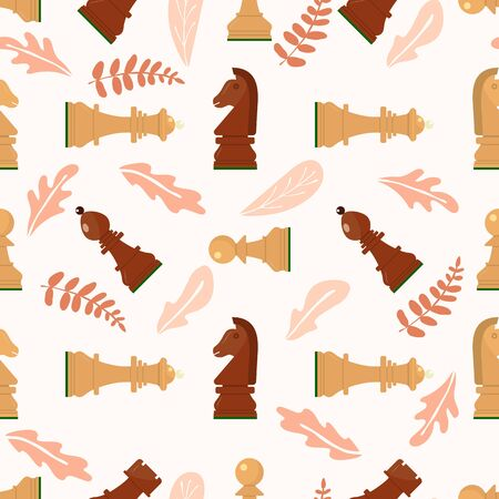 Seamless pattern with chess wooden figures, abstract leaves .Brown and white pieces on pink background. Vector.King, queen, pawn, rook, horse, bishop. Game concept. wallpaper, wrapping fabric textile Illusztráció