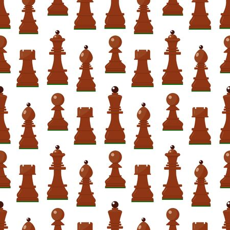 Seamless pattern with chess wooden figures. Brown pieces on white. Vector.King, queen, pawn, rook, horse, bishop. Game concept. wallpaper wrapping background fabric textile