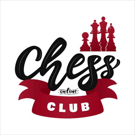 Chess online club with figures. King, queen, bishop, pawn. Hand lettering  . with decorative ribbon. Game sport. Vector. Template of hobby school, web banner, mobile application, business card Illusztráció