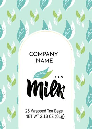 Template of packaging Milk tea, company name. Pattern with leaves, gold frame. Finished design for box, pack, business card of company, shop, logo. Vector illustration. Hand calligraphy lettering.